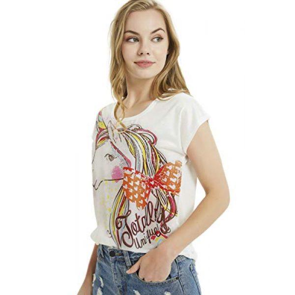 futurino Graphic Tshirt 4 Women's Summer Colorful Bow Tie Unicorn Print Short Sleeve T-Shirt Tops