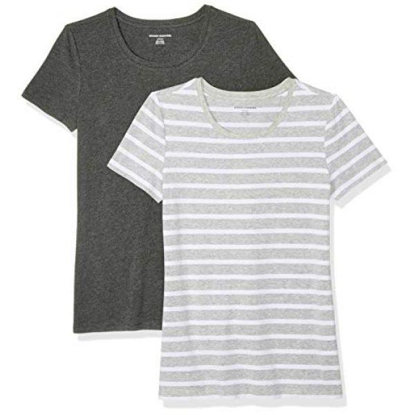 Amazon Essentials Graphic Tshirt 1 Women's 2-Pack Classic-Fit Short-Sleeve Crewneck T-Shirt