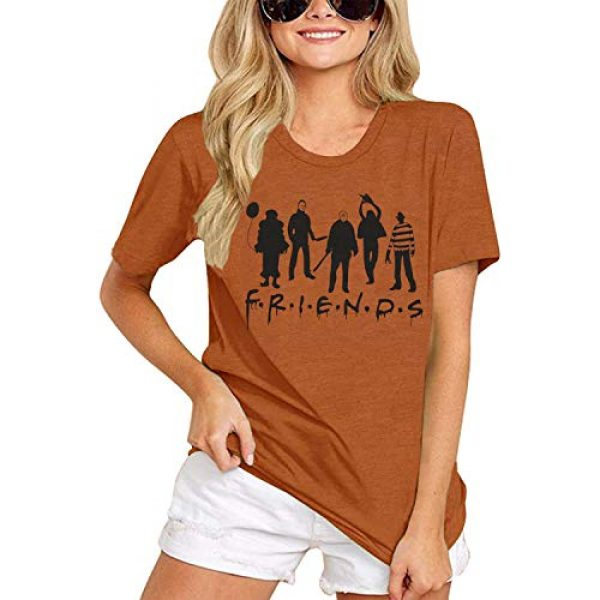 TAOHONG Graphic Tshirt 2 Friends Shirt Women Funny Party T Shirt Top Horror Movies Novelty Graphic Short Sleeve Tee Blouse