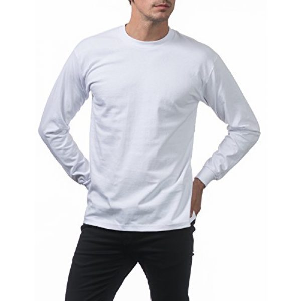 Pro Club Graphic Tshirt 4 Men's 3-Pack Heavyweight Cotton Long Sleeve Crew Neck T-Shirt