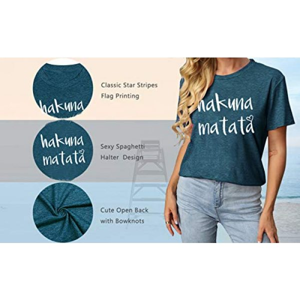 DUTUT Graphic Tshirt 5 Hakuna Matata T Shirts Women Funny Letter Print Short Sleeve Casual Loose Graphic Tee Tops