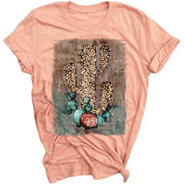 LORSU Graphic Tshirt 1 Womens Leopard Cactus T Shirts Funny Texas Cactu Graphic Tees Casual Summer Short Sleeve O Neck T Shirt