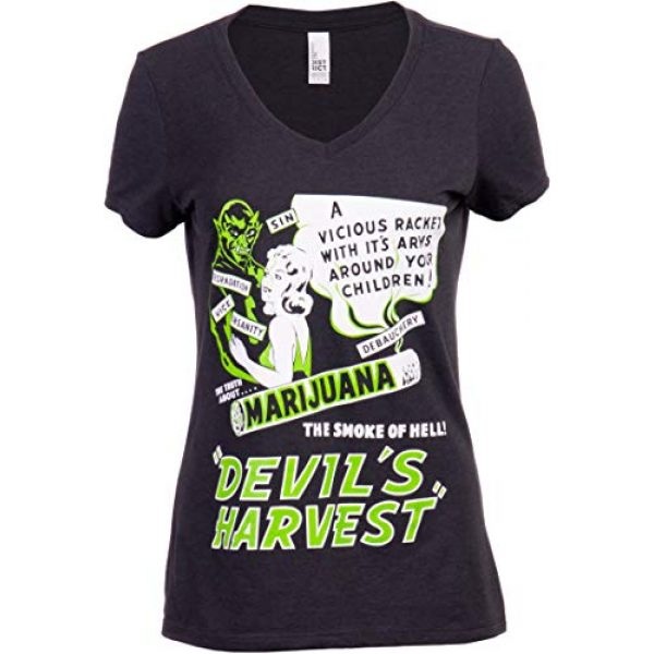 Ann Arbor T-shirt Co. Graphic Tshirt 1 Devil's Harvest (1942 Poster) | Funny Absurd Vintage Drug War Marijuana Weed Pot Propaganda Women's V-Neck T-Shirt