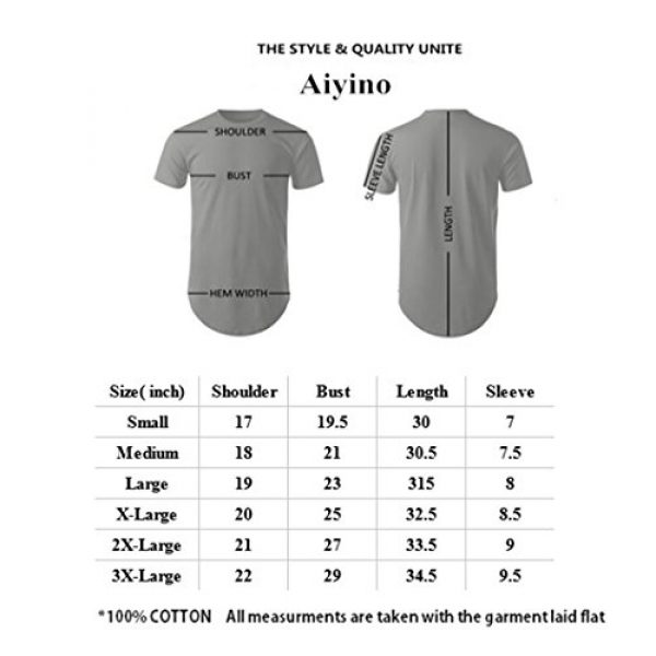 Aiyino Graphic Tshirt 5 Men's Hipster Hip Hop T-Shirt with Side Zipper Trim