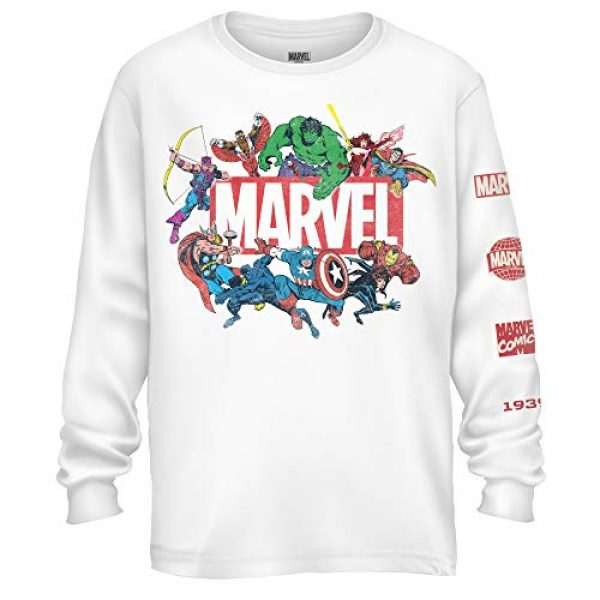 Marvel Graphic Tshirt 1 Mens Long Sleeve Shirt - Spiderman, Ironman, Captain America & Hulk Tee Comics Long Sleeve T-Shirt