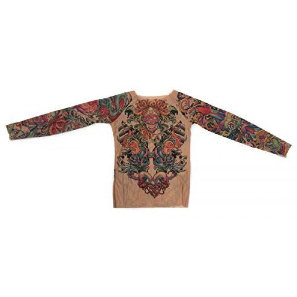Wild Rose Graphic Tshirt 4 Ladies Sugar Skulls Bright Tattoo Mesh Shirt, Tan