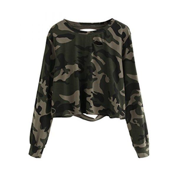 SweatyRocks Graphic Tshirt 1 Women's Tshirt Long Sleeve Distressed Crop T-Shirt Top