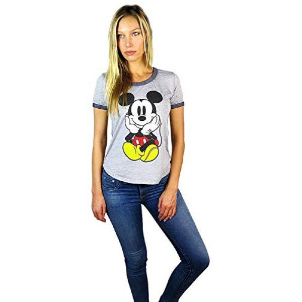 Disney Graphic Tshirt 3 Womens Mickey Mouse Burnout Ringer Tee Chillin Heather Grey