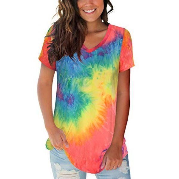 FOWSMON Graphic Tshirt 1 Women's Casual V Neck Short Sleeve Tops Basic Summer T Shirts