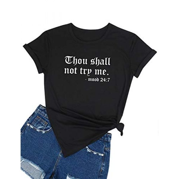 Nlife Graphic Tshirt 2 Thou Shall Not Try Me Oversized Sweatershirt Graphic Tee Shirt for Womens Fall Tops