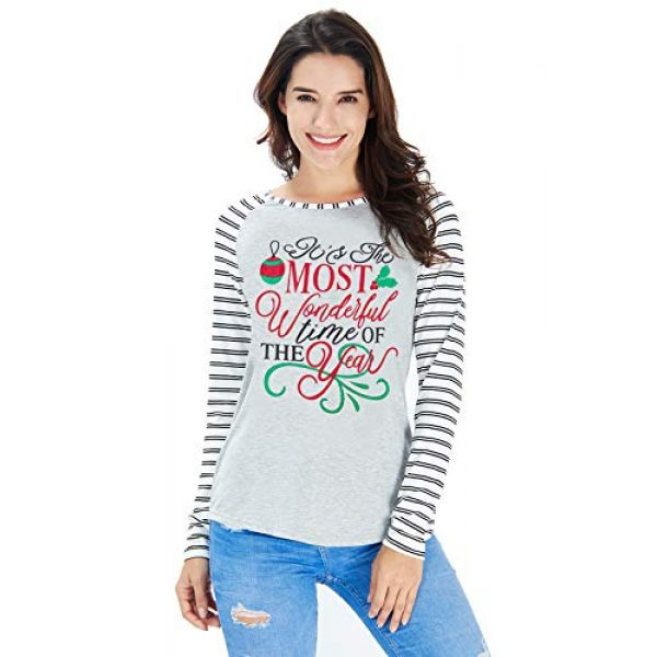 uideazone Graphic Tshirt 1 Women Christmas Print Long Sleeve T Shirt Casual Holiday Party Blouse Tops