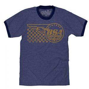 Tee Luv Graphic Tshirt 1 BSA Ringer T-Shirt - Vintage BSA Motorcycles Graphic Shirt