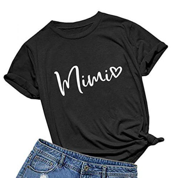 BABEGO Graphic Tshirt 1 Womens Mimi Heart T Shirt Cute Letter Print Short Sleeve Graphic Tees