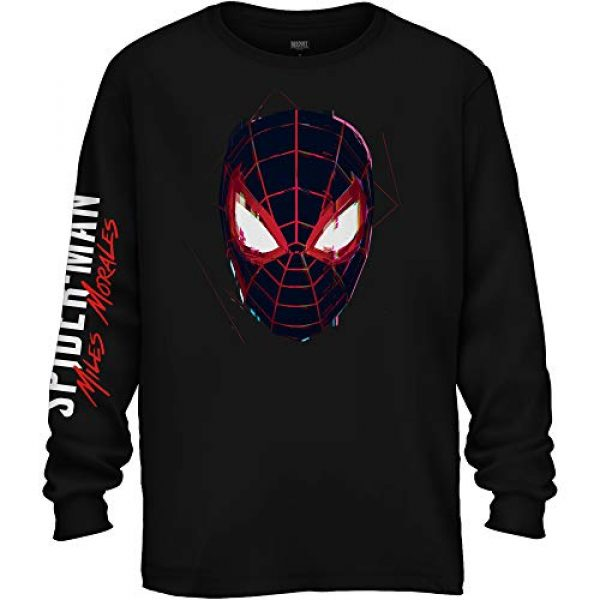 Marvel Graphic Tshirt 1 Miles Morlaes Ultimate Spider-Man Head Long Sleeve Mens T-Shirt