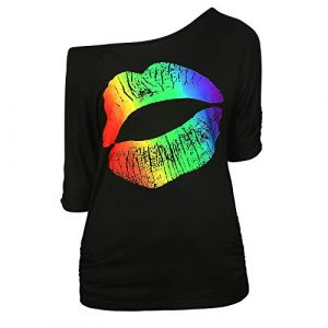 HDE Graphic Tshirt 1 Retro Off Shoulder Tops for Women Rainbow Lips T-Shirt 80s Workout Costume Top