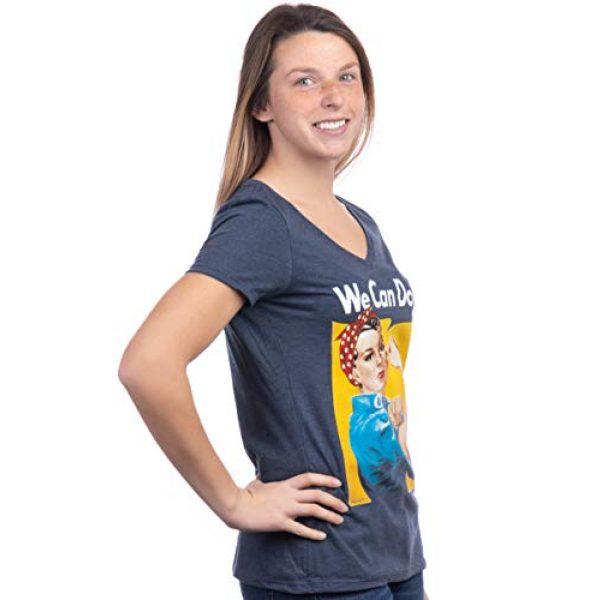 Ann Arbor T-shirt Co. Graphic Tshirt 3 Rosie The Riveter, We Can Do It   Feminist Rosey Rosy V-Neck T-Shirt for Women