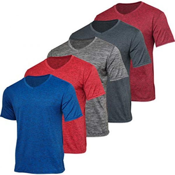 Real Essentials Graphic Tshirt 1 5 Pack: Mens V-Neck Dry-Fit Moisture Wicking Active Athletic Tech Performance T-Shirt