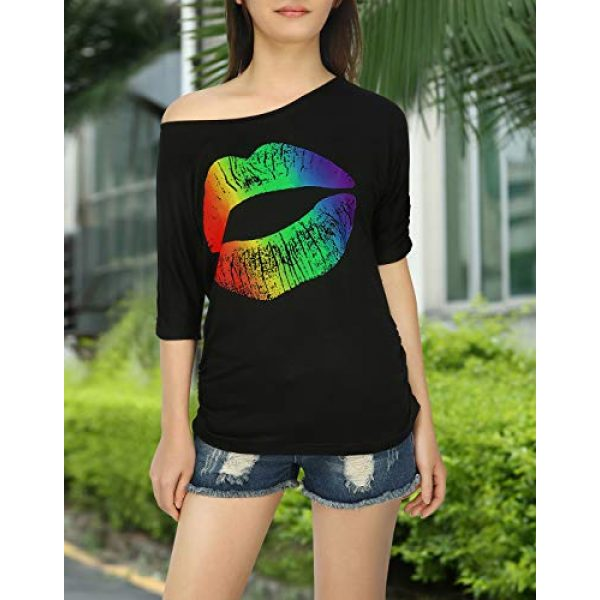 HDE Graphic Tshirt 4 Retro Off Shoulder Tops for Women Rainbow Lips T-Shirt 80s Workout Costume Top