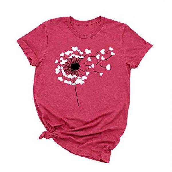Binshre Graphic Tshirt 1 Women Love Dandelion Graphics Shirt Heart Print Novelty Short Sleeve Tops Tees