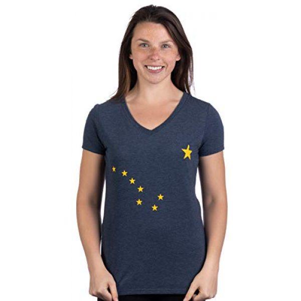 Ann Arbor T-shirt Co. Graphic Tshirt 2 Alaskan Flag | Alaska Pride Northern Lights Big Dipper V-Neck T-Shirt for Women