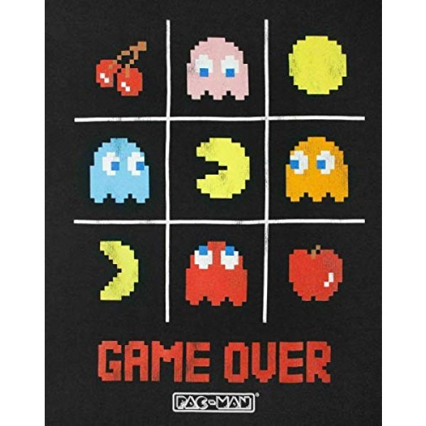 """Pac-Man Graphic Tshirt 3 """"Game Over Men's Official Tic Tac Toe Retro Character T-Shirt"""