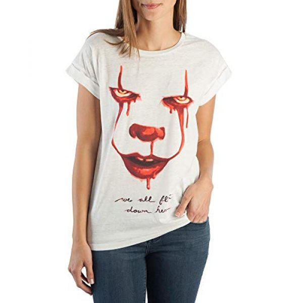 Bioworld Graphic Tshirt 1 IT We All Float Down Here Rolled Sleeve T-Shirt for Women
