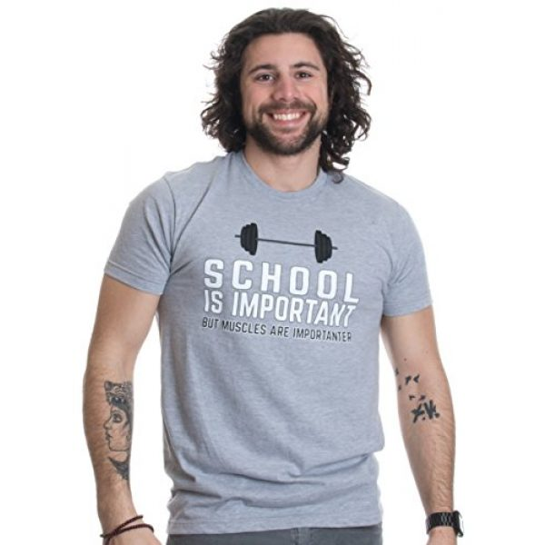 Ann Arbor T-shirt Co. Graphic Tshirt 2 School is Important, but Muscles are Importanter | Funny Body Building T-Shirt