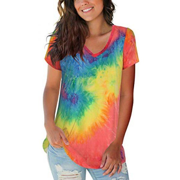 FOWSMON Graphic Tshirt 4 Women's Casual V Neck Short Sleeve Tops Basic Summer T Shirts