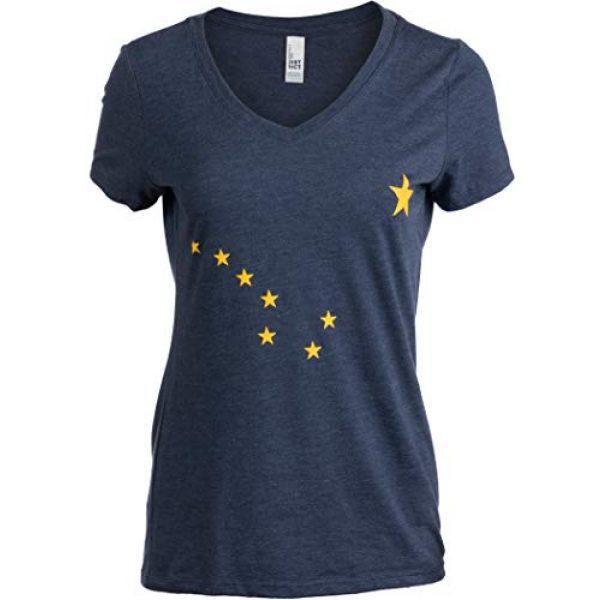 Ann Arbor T-shirt Co. Graphic Tshirt 1 Alaskan Flag | Alaska Pride Northern Lights Big Dipper V-Neck T-Shirt for Women