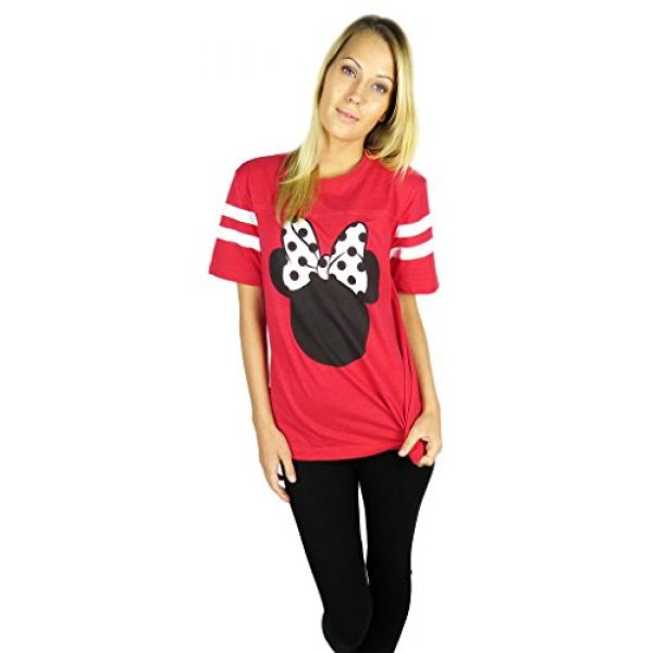 Disney Graphic Tshirt 4 Womens Minnie Mouse Varsity Football Tee Red