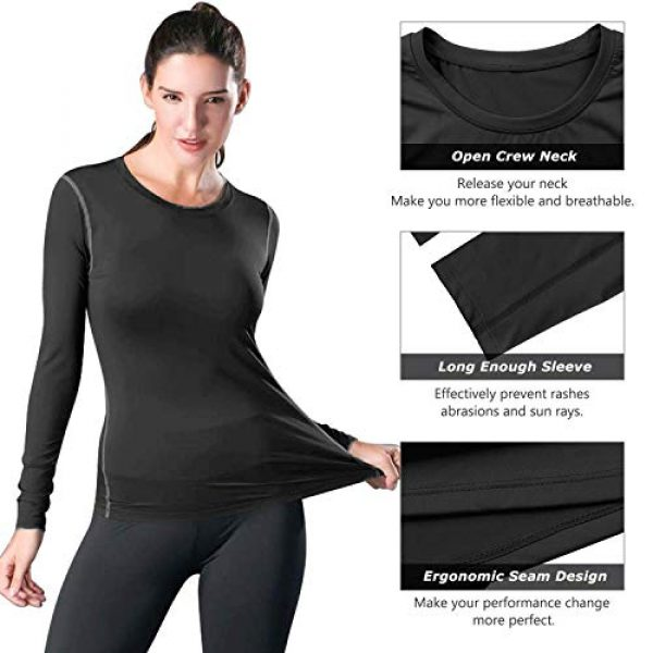 WANAYOU Graphic Tshirt 5 Women's Compression Shirt Dry Fit Long Sleeve Running Athletic T-Shirt Workout Tops