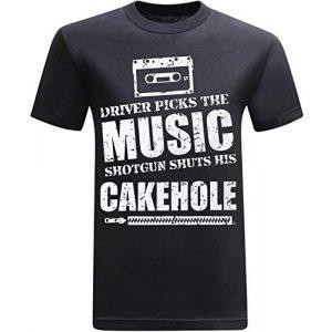 tees geek Graphic Tshirt 1 Driver Picks The Music Shotgun Shuts His Cakehole Funny Novelty Tshirt