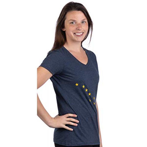 Ann Arbor T-shirt Co. Graphic Tshirt 3 Alaskan Flag | Alaska Pride Northern Lights Big Dipper V-Neck T-Shirt for Women