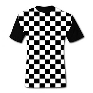 HAHTUUE Graphic Tshirt 1 Men's T-Shirts Black & White Checkerboard Squares 3D Floral Print T-Shirt Comfy Casual Tops for Men Tees