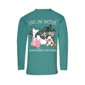 Southern Couture Graphic Tshirt 1 Comfort Long Sleeve Fit Love One Another Adult T-Shirt Seafoam