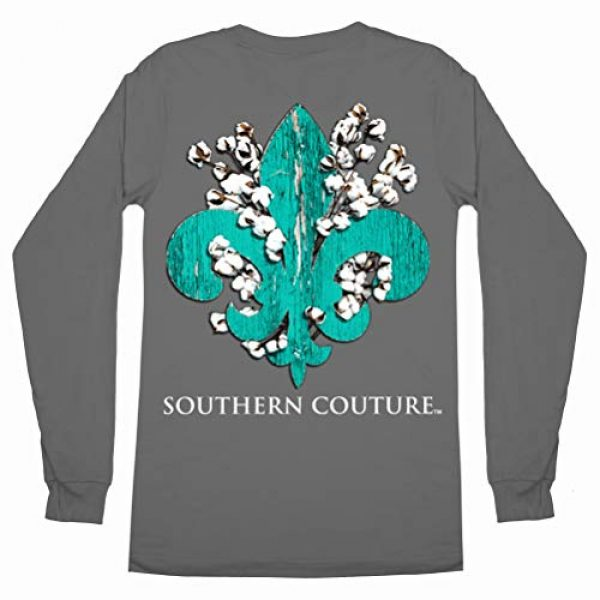 Southern Couture Graphic Tshirt 1 SC Classic Cotton Fleur on Long Sleeve Classic Fit Adult T-Shirt - Charcoal