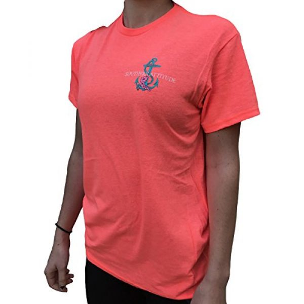 Southern Attitude Graphic Tshirt 2 Flower Anchor Coral Salty Short Sleeve T-Shirt
