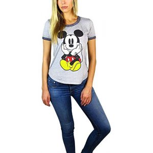 Disney Graphic Tshirt 1 Womens Mickey Mouse Burnout Ringer Tee Chillin Heather Grey