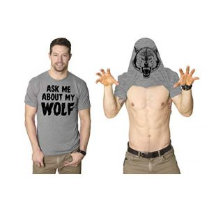Crazy Dog T-Shirts Graphic Tshirt 1 Ask Me About My Wolf Flip T Shirt Cool Design Funny Saying Novelty Graphic