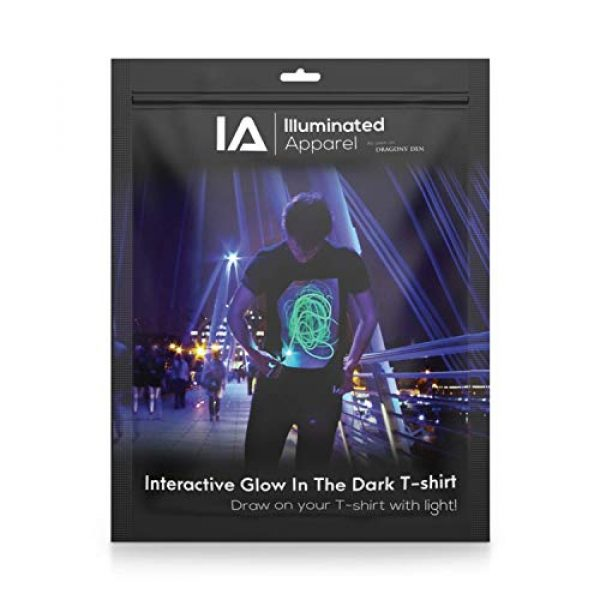 Illuminated Apparel Graphic Tshirt 6 Interactive Glow in The Dark T-Shirt - Fun for Birthday Parties & Festivals
