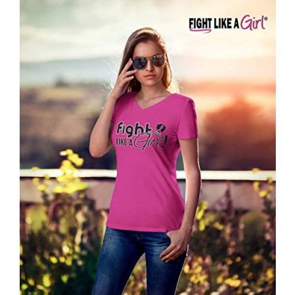 Fight Like a Girl Graphic Tshirt 2 Signature Breast Cancer T-Shirt Ladies V-Neck Hot Pink