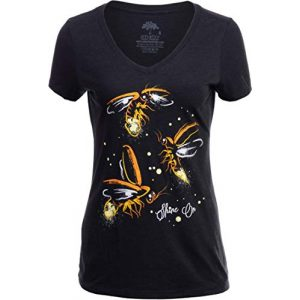 Ann Arbor T-shirt Co. Graphic Tshirt 1 Fireflies | Lightning Bug Firefly Nature Art Insect Fire Fly V-Neck T-Shirt for Women