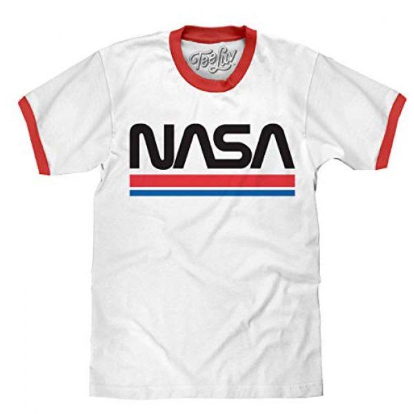 Tee Luv Graphic Tshirt 1 NASA Shirt - Classic NASA Worm Logo Ringer T-Shirt (White/Red)