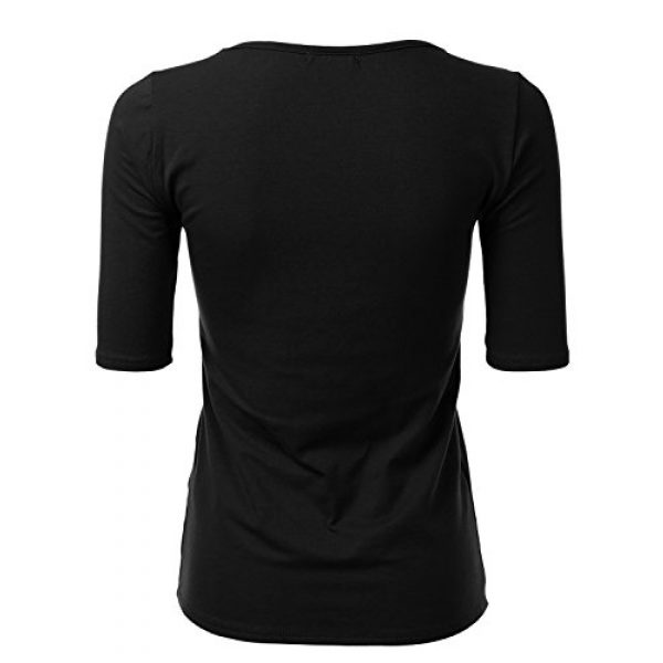 SSOULM Graphic Tshirt 3 Women's 1/2 Sleeve Scoopneck Cotton Basic Slim Fit T-Shirt Top with Plus Size