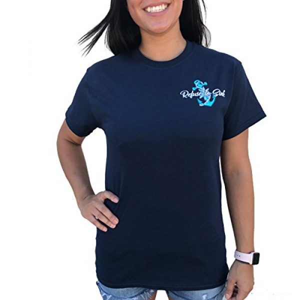 Southern Attitude Graphic Tshirt 2 Refuse to Sink Anchor Navy Blue Short Sleeve T-Shirt