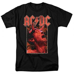 Popfunk Graphic Tshirt 1 AC DC Angus with Horns Rock Band T Shirt & Stickers