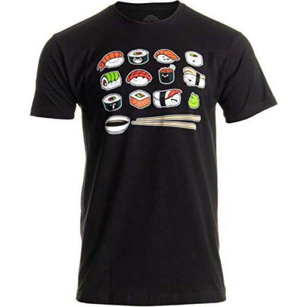 Ann Arbor T-shirt Co. Graphic Tshirt 1 Happy Sushi   Funny, Cute Fun Japanese Food Go Rice Art for Men Women T-Shirt