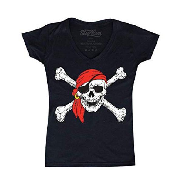 Shop4Ever Graphic Tshirt 1 Pirate Buccaneer Costume Women's V-Neck T-Shirt Slim FIT