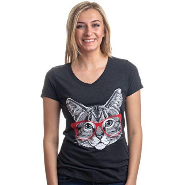Ann Arbor T-shirt Co. Graphic Tshirt 2 Red Linda Glasses Cat | Sassy Funny Kitty Belcher Cute V-Neck T-Shirt for Women