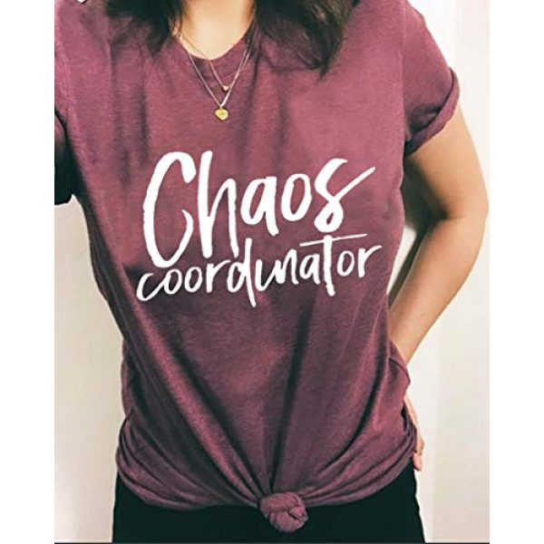 FAYALEQ Graphic Tshirt 3 Chaos Coordinator T Shirt Women Funny Letter Print T-Shirt Tees Casual Loose V-Neck Short Sleeve Tops Blouse